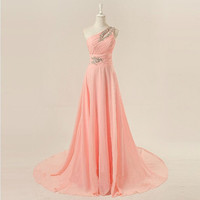 Cheap 2013 Long One shoulder floor length chiffon beading appliques prom dresses