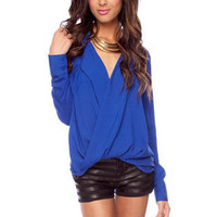 Twisted Around Top in Blue :: tobi