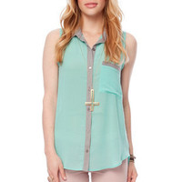 Mix and Match Button Down Shirt in Seafoam :: tobi