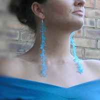 Long Aqua Blue Earrings. Extra Long  Earrings. Shoulder Dusters. Beadwork