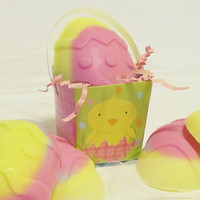 SALE Pink Yellow &amp; Purple Easter Egg Soap for Girls by crimsonhill