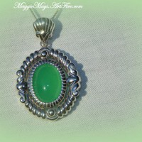 Genuine Apple Green Chrysoprase Pendant Necklace, .925 Sterling Silver