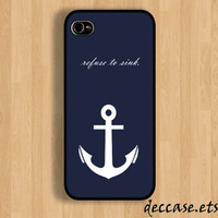 IPHONE 5 CASE White anchor on Blue text word quote iPhone 4 case iPhone 4S case iPhone case Hard Plastic Case Soft Rubber Case