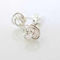 Fine Silver Love Knot Earrings, Silver Stud Earrings, Small Earrings, Delicate Earrings