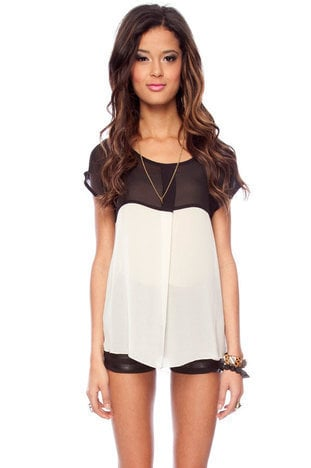Be in Contrast Blouse in Black and Cream :: tobi