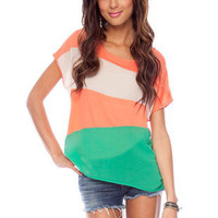 One on One Colored Top in Coral Orange :: tobi