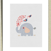 Whimsical Baby Nursery Decor Wall Art Alphabet Elephant by Fliss01