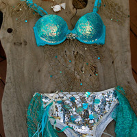 Rave/EDC Bra/Outfit/Costume - The Sparkle Mermaid - Starfish/Shell Necklace and Booty Shorts
