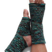 Yoga Socks Hand Knit in Turquoise Light Blue and Brown Pedicure Pilates Dance
