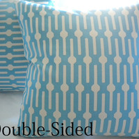 Blue geometric print pillow cover 18 x 18 Double Sided by MicaBlue