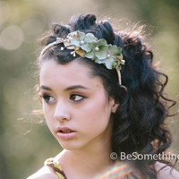spring woodland flower headband, woodland wedding hair accessory,