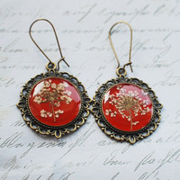 Real Flower Earrings Red Resin Jewelry  by NaturalPrettyThings