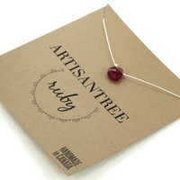 Ruby Stone Necklace : Red Ruby Crystal Necklace with Pure White Natural Silk Cord, Delicate, Simple, Bridesmaid, Beach, July Birthstone