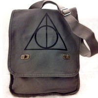 Deathly Hallows Messenger Bag Harry Potter Gray Canvas Messenger Bag