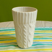 Cable knit ceramic tall cup Ivory Glazed edge by reshapestudio