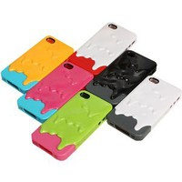 6 Colors Melting Ice Cream Hard Case Cover for Iphone 4 4s Color:yellow and Green, Green and Pink, Blue and Pink, White and Gray, Black and