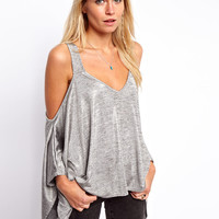 ASOS Top with Cold Shoulder in Metallic
