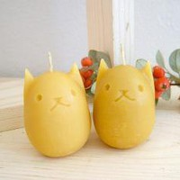 Kitty Egg Beeswax Candles  Set of 2 by kittybblove on Etsy