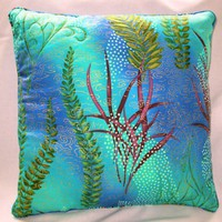 Decorator Pillow UNDERSEA GARDEN | QuiltTops - Housewares on ArtFire