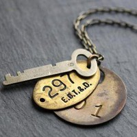 Bedford Necklace  Vintage Key and Brass Tags by WishByFelicity