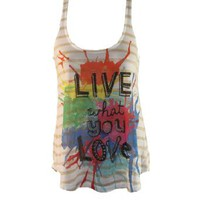 """Live What You Love"" Quote Striped Tank Top w/ Multicolored Paint Splatter Design (Small): Clothing"