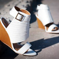 Qupid Gipsy-01 Ankle Cuff Open Toe Strappy Wedge (White) - Shoes 4 U Las Vegas