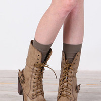 Distressed Fold-over Lace Up Boots in Beige - $48.00