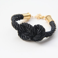 Black silk warp Bracelet  24k gold plated  by TheUrbanLady on Etsy