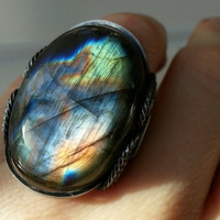 Labradorite Ring, Unique Gemstone, Rare Labradorite, Purple, Red, Green, Oxidized Sterling Silver, Custom Sized Ring, Spring Summer Color