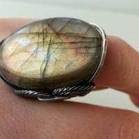 Labradorite Ring, Pink, Wheat Field, Coral, Natural Stone, Darkened Sterling Silver, Handmade, Statement Jewelry, Spring Summer Color