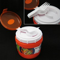 INSULATED FOOD JAR THERMO HOT COLD FOOD LUNCH BAG CONTAINER BOWL SPOON FORK 10OZ