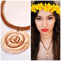 Flower bohemian necklace. Statement necklace.