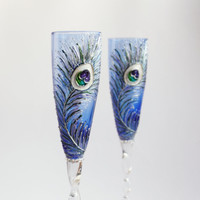 Blue Wedding Champagne Glasses Flutes Hand painted SET of 2 Peacock feathers