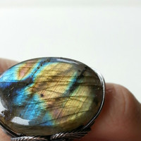 Flashy Labradorite Ring, Electric Blue, Gold, Amber Sunset, Caribbean, Sterling Silver, Mauve Pink, Large Stone