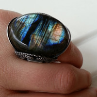 Labradorite Statement Ring, Huge Natural Gemstone, Lightning Storm, Oxidized Sterling Silver, Spring Summer Color, Mothers Day