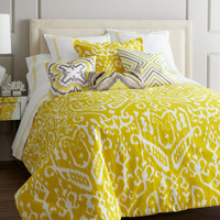 Ikat Citron King Duvet Bedding Set
