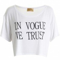 LOU LOU White 'In Vogue We Trust' Crop Tee - Love