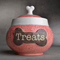 Dog Treat Jar Treats Pink Squares Treat Jar by symmetricalpottery