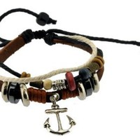 Retro Anchor Zen Bracelet / Leather Bracelet / Leather Wristband / Surf Bracelet Adjustable Size, for Men, Women, Boys and Girls, Teens, #324: Jewelry