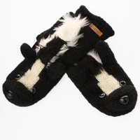 Knitwits Delux Skunk Animal Mittens - Black/White - Punk.com