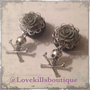 Pick size Gray Grey Rose skull crossbones  by Lovekillsboutique