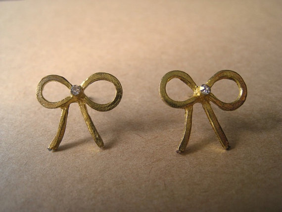 Bow Earring Studs Ribbon Earrings by Bitsofbling on Etsy