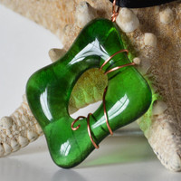 Handmade Fused Glass Green Wire Wrapped by eyeseesage