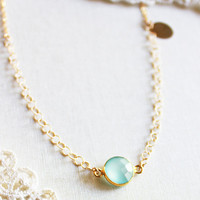 OCEANS - Personalized Custom Hand Stamped Seafoam aqua mint chalcedony on gold filled necklace monogram bridesmaid gift