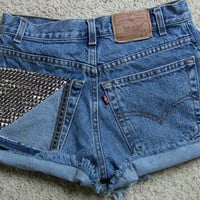 Vintage High Waisted Studded Destroyed Denim Shorts by csrclothing