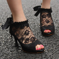 Women Wedding Lace Bowknot Ankle Heels Pumps Shoes   CS47