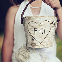 Personalized Rustic  Birch Flower Girl Basket Wedding Woodland Shabby Chic