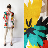 Vintage 1980s Colorful Pop Art Blazer. Red, Green, Yellow Oversized Blazer.