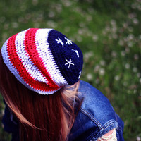 4th of July AMERICAN FLAG Beanie Crochet Hat / Stars and Stripes Americano