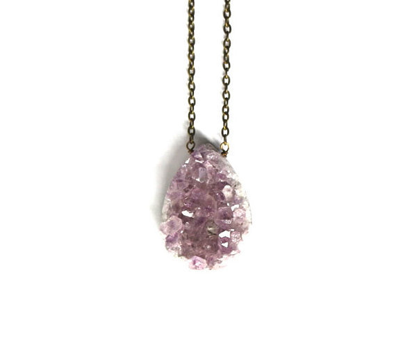 Raw Amethyst &amp; Brass Necklace by BrooklynThread on Etsy